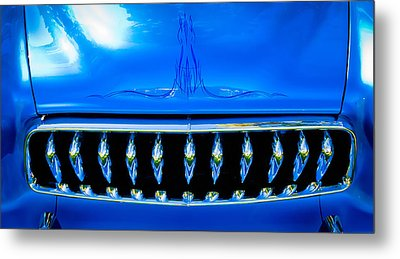Blue Chrome Grill Metal Print by Phil 'motography' Clark