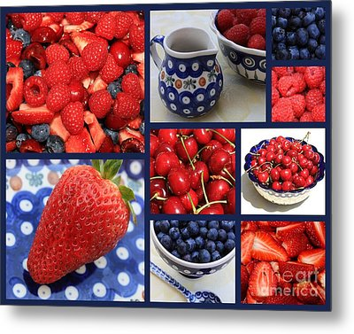 Blue Dishes And Fruit Collage Metal Print by Carol Groenen