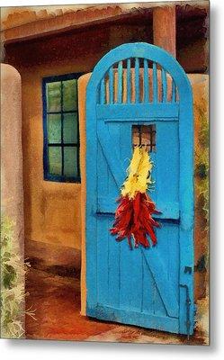 Blue Door And Peppers Metal Print by Jeff Kolker