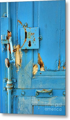 Blue Door Blues Metal Print by Olivier Le Queinec