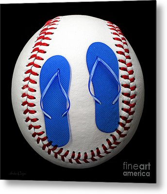 Blue Flip Flops Baseball Square Metal Print by Andee Design