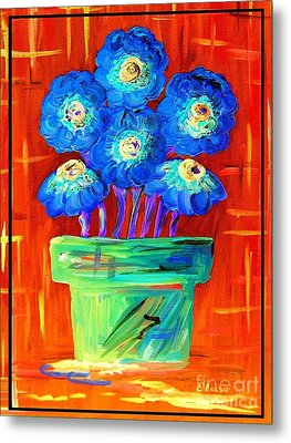 Blue Flowers On Orange Metal Print by Eloise Schneider