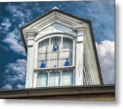 Blue Glass In Window Metal Print by Brenda Bryant