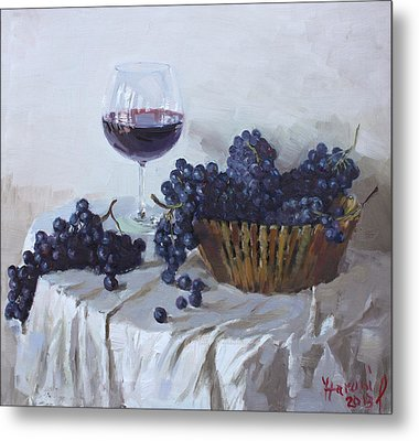 Blue Grapes And Wine Metal Print by Ylli Haruni