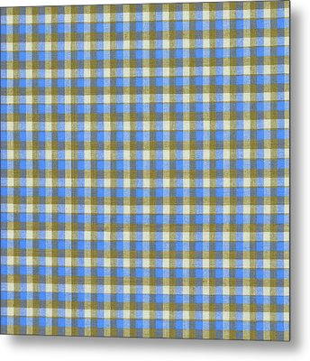 Blue Green And White Plaid Pattern Cloth Background Metal Print by Keith Webber Jr