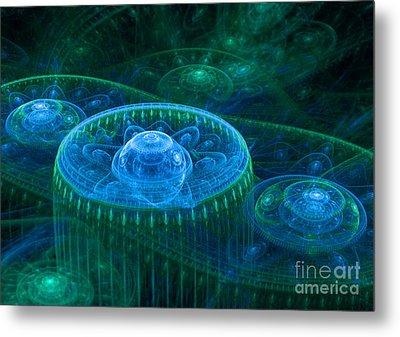Blue Green Fantasy Landscape Metal Print by Martin Capek