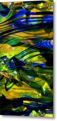 Blue Green Glass Macro Metal Print by David Patterson