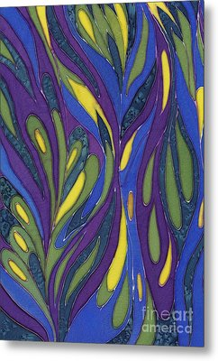 Blue Green Purple Abstract Silk Design Metal Print by Sharon Freeman