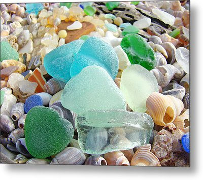 Blue Green Sea Glass Beach Coastal Seaglass Metal Print by Baslee Troutman