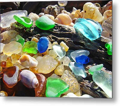 Blue Green Seaglass Art Prinst Agates Shells Metal Print by Baslee Troutman