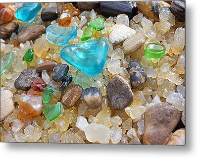 Blue Green Seaglass Coastal Beach Baslee Troutman Metal Print by Baslee Troutman