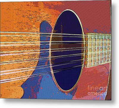 Blue Guitar Metal Print by Barbara Drake
