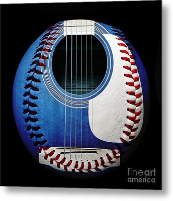 Blue Guitar Baseball Square Metal Print by Andee Design