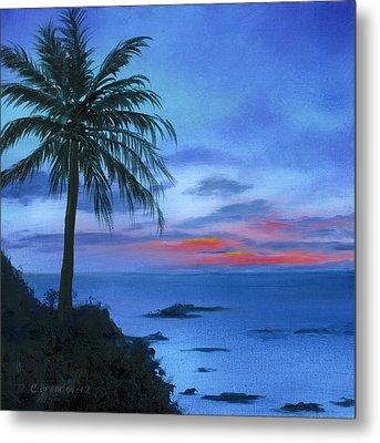 Blue Hawaiian Sunset Metal Print by Cecilia Brendel