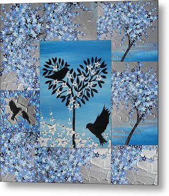 Blue Heart Tree Metal Print by Cathy Jacobs