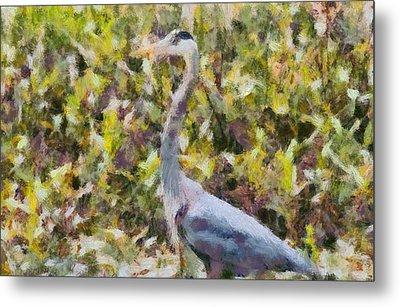 Blue Heron Painting Metal Print by Dan Sproul
