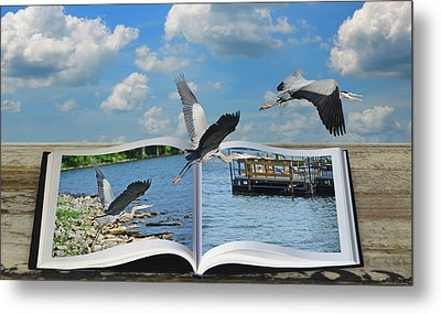 Blue Heron Storybook Metal Print by Steven  Michael