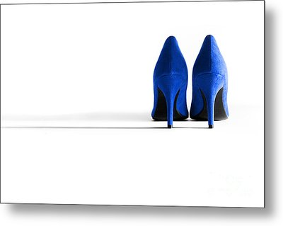 Blue High Heel Shoes Metal Print by Natalie Kinnear