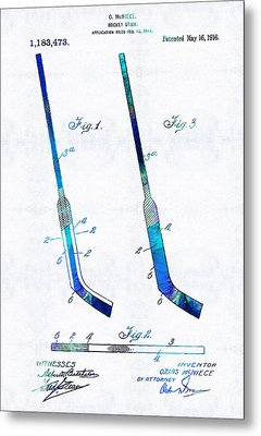 Blue Hockey Stick Art Patent - Sharon Cummings Metal Print by Sharon Cummings
