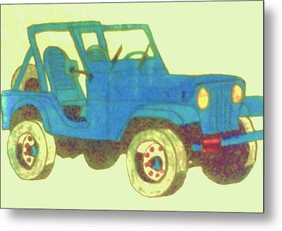 Blue Jeep Metal Print by Christy Saunders Church