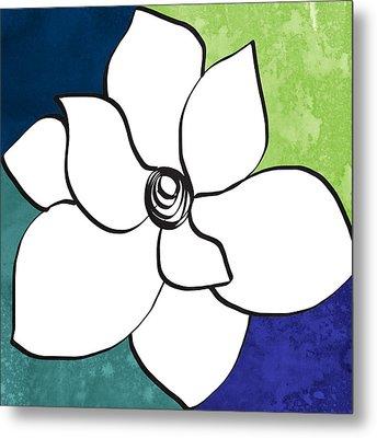 Blue Magnolia 2- Floral Art Metal Print by Linda Woods