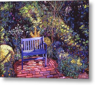 Blue Meeting Chair Metal Print by David Lloyd Glover