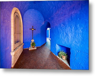 Blue Monastery Interior Metal Print by Jess Kraft