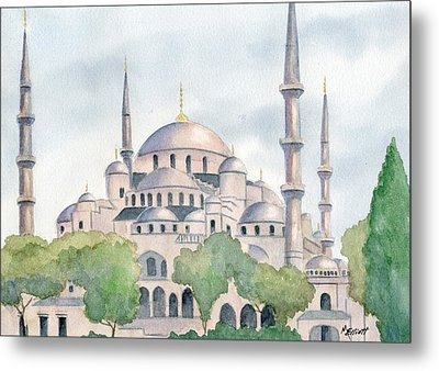 Blue Mosque Metal Print by Marsha Elliott