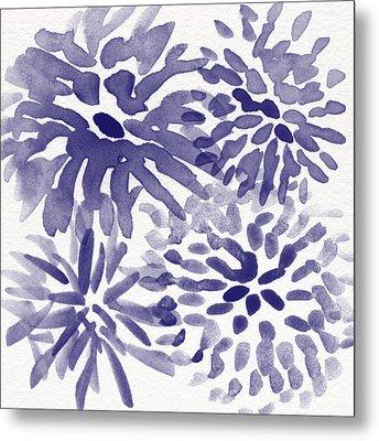 Blue Mums- Watercolor Floral Art Metal Print by Linda Woods