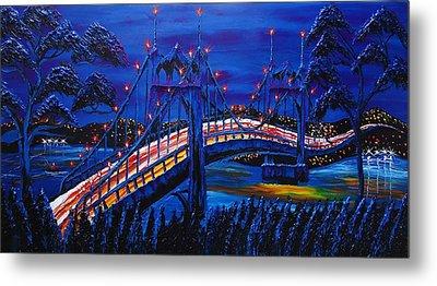 Blue Night Of St. Johns Bridge #14 Metal Print by Portland Art Creations