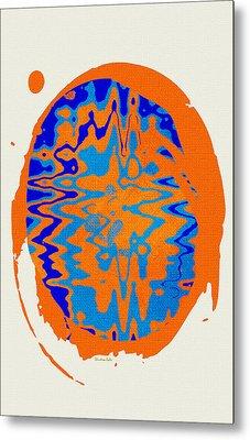 Blue Orange Abstract Art Metal Print by Christina Rollo