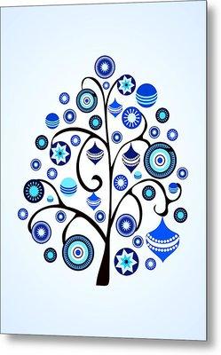 Blue Ornaments Metal Print by Anastasiya Malakhova