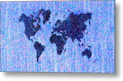 Blue Pointillist World Map Metal Print by Hakon Soreide
