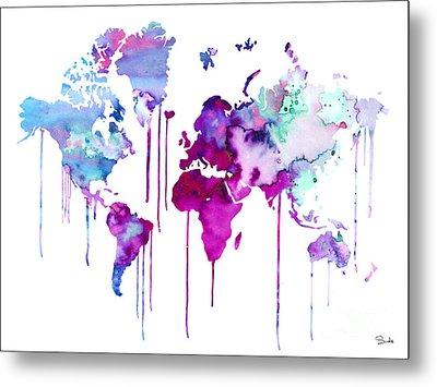 Blue Purple Watercolor Map Metal Print by Lyubomir Kanelov