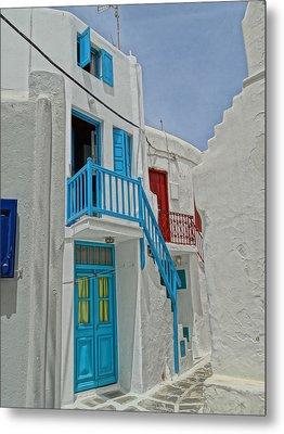 Blue Railing With Stairway In Mykonos Greece Metal Print by M Bleichner