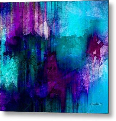 Blue Rain  Abstract Art   Metal Print by Ann Powell