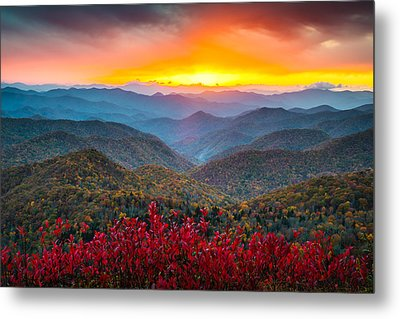 Blue Ridge Parkway Autumn Sunset Nc - Rapture Metal Print by Dave Allen
