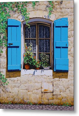 Blue Shutters Metal Print by Michael Swanson