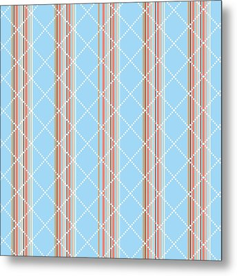 Blue Stripe Pattern Metal Print by Christina Rollo