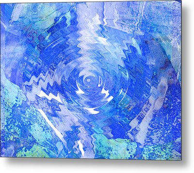 Blue Twirl Abstract Metal Print by Ann Powell