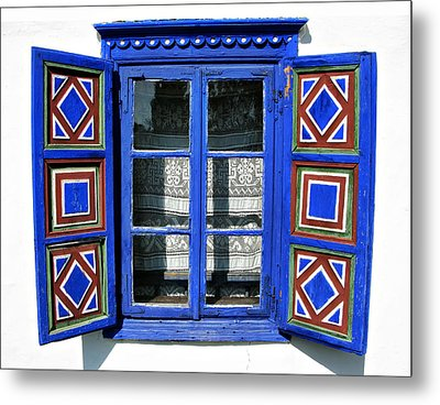 Blue Window Handmade Metal Print by Daliana Pacuraru