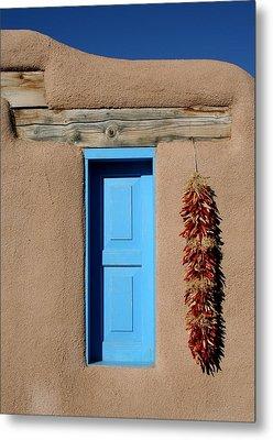 Blue Window Of Taos Metal Print by Heidi Hermes