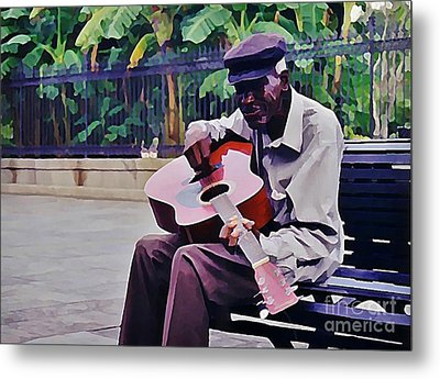 Blues Guitar Player In New Orleans Metal Print by John Malone