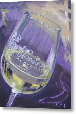 Bluestone Vineyard Wineglass Metal Print by Donna Tuten