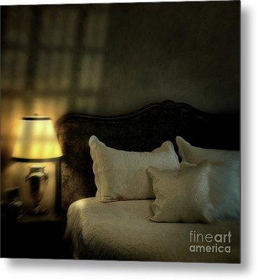 Blurry Image Of A Vintage Looking Bedroom Metal Print by Sandra Cunningham
