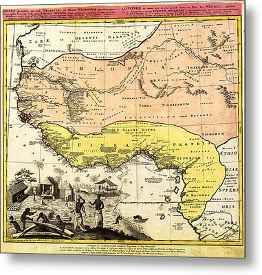 Bm0588 - Map Of Western Africa 1743 Metal Print by Homann Erben