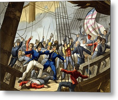 Boarding And Taking The American Ship Metal Print by William Heath