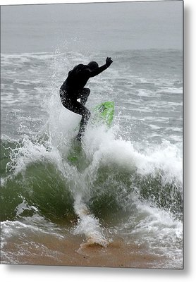 Boardskimming - Into The Surf Metal Print by Kim Bemis