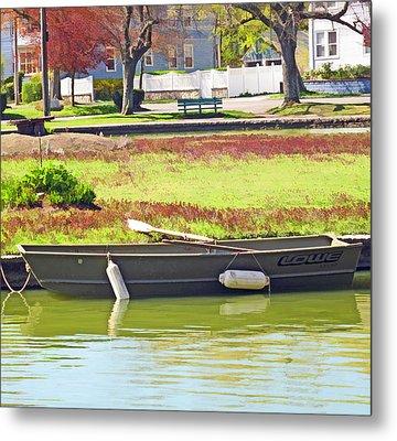 Boat At The Pond Metal Print by Barbara McDevitt