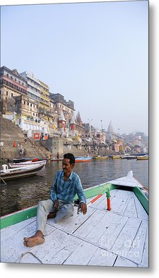 Boat On The River Ganges At Varanasi In India Metal Print by Robert Preston